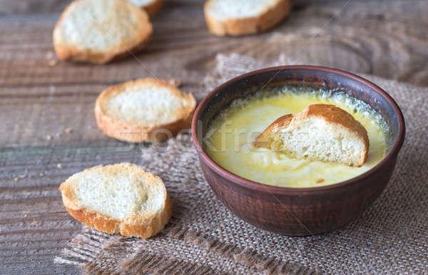 Tál sajt mártás gyors felső közelkép Stock fotó © Alex9500