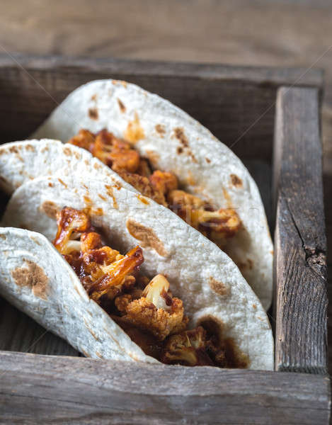 Tacos picante coliflor alimentos fondo cena Foto stock © Alex9500