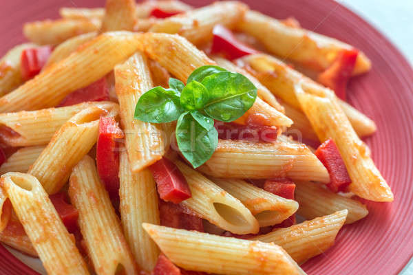 Penne with tomato sauce and fresh pepper Stock photo © Alex9500