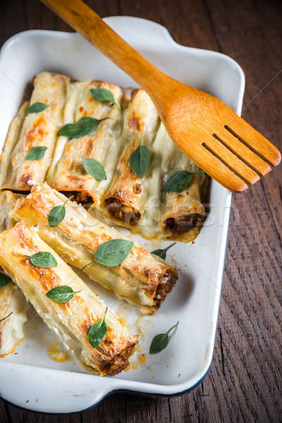 Cannelloni with mincemeat and bachamel Stock photo © Alex9500
