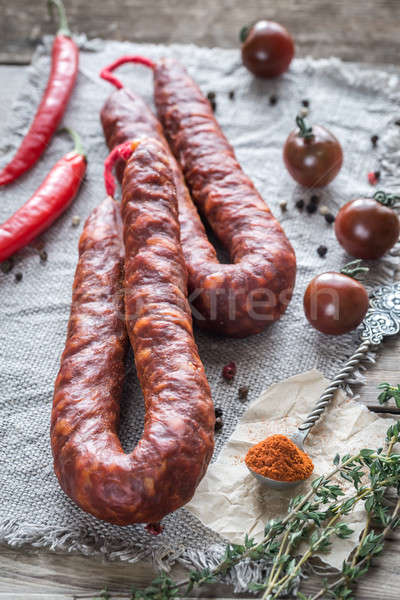 Chorizo with cherry tomatoes Stock photo © Alex9500