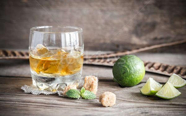 üveg rum fából készült buli jég bár Stock fotó © Alex9500