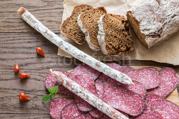 Salami with bread Stock photo © Alex9500