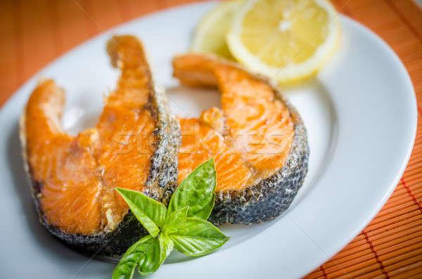 Grilled salmon steaks Stock photo © Alex9500
