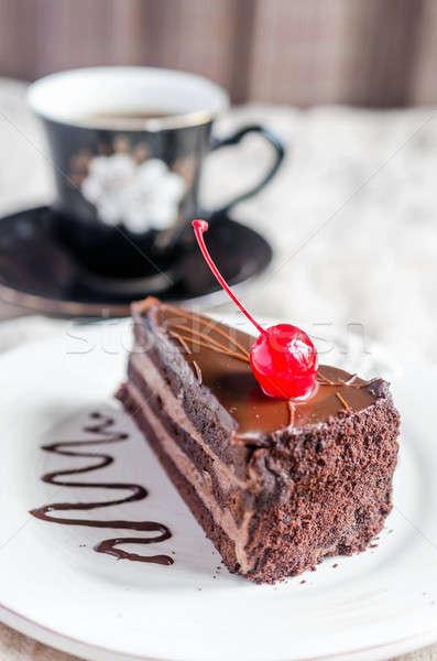 Bolo de chocolate café fundo bolo tabela escuro Foto stock © Alex9500