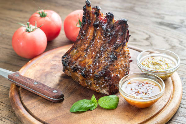 Gegrild varkensvlees barbecuesaus keuken restaurant Stockfoto © Alex9500