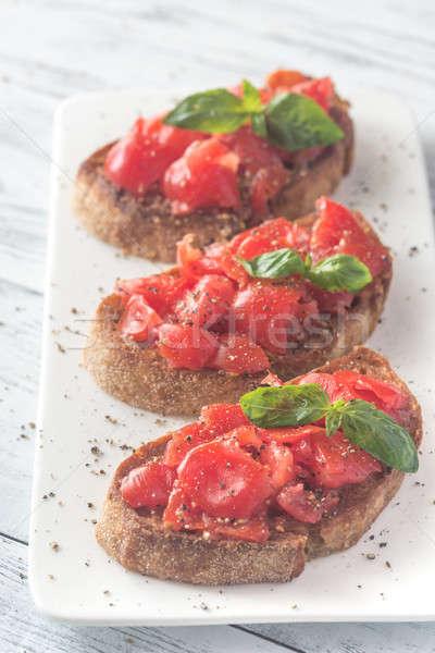 ブルスケッタ チェリートマト バジル 緑 油 赤 ストックフォト © Alex9500