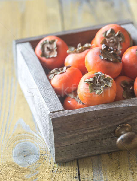 Wooden box of fresh persimmons Stock photo © Alex9500