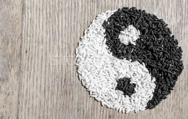 Rizs yin yang absztrakt kínai női főzés Stock fotó © Alex9500