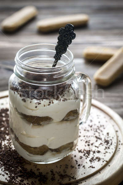 Tiramisu albañil jar luz chocolate Foto stock © Alex9500