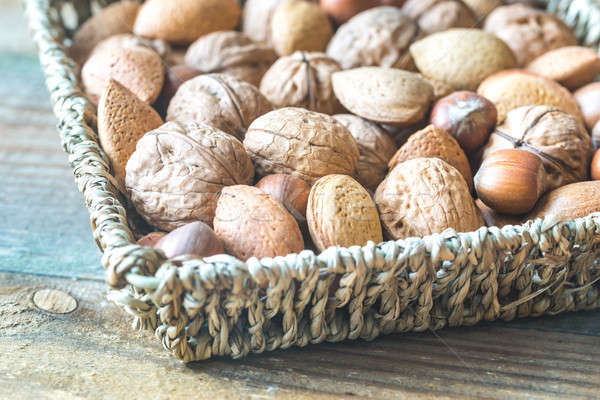 Assortment of nuts in the basket Stock photo © Alex9500