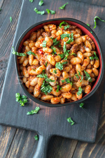 Bowl of mexican pinto beans Stock photo © Alex9500