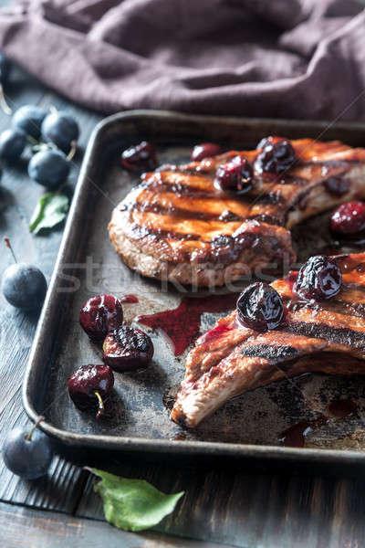 ızgara domuz eti erik sos erik Stok fotoğraf © Alex9500