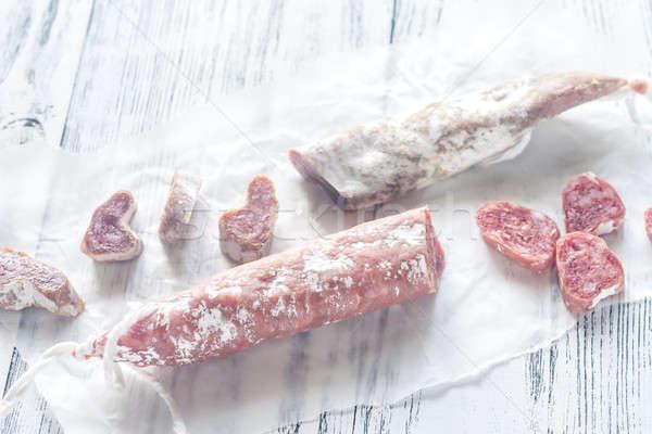 Spagnolo legno carta alimentare taglio salsiccia Foto d'archivio © Alex9500