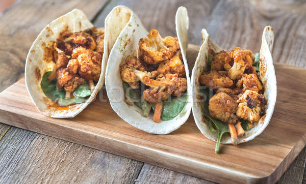 Taco gekruid bloemkool groep boord Mexicaanse Stockfoto © Alex9500