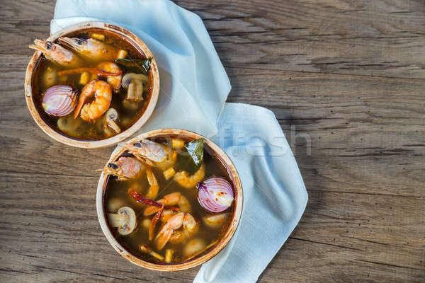 Dwa kręgle tajska yum zupa trawy Zdjęcia stock © Alex9500