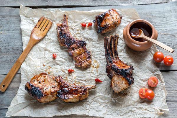 Grelhado carne de porco costelas comida tabela Foto stock © Alex9500