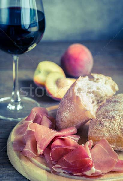 Red wine with prosciutto and ciabatta Stock photo © Alex9500