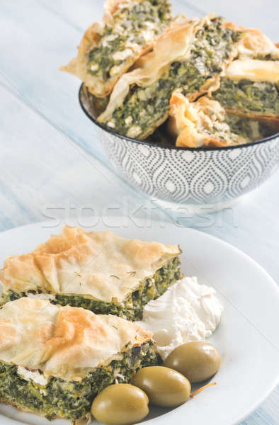 Portion of Spanakopita - Greek spinach pie Stock photo © Alex9500