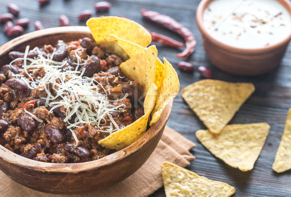 Bowl of chili con carne with tortilla chips Stock photo © Alex9500