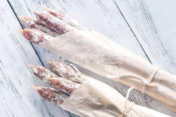 Salsicce carta da imballaggio carta alimentare carne bianco Foto d'archivio © Alex9500