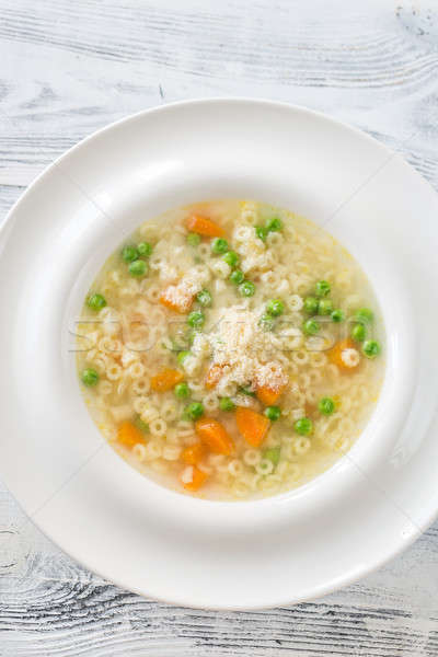 Italian chicken pasta soup with parmesan Stock photo © Alex9500