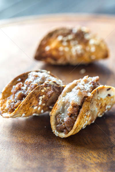 Mini tacos with ground beef and cheese Stock photo © Alex9500