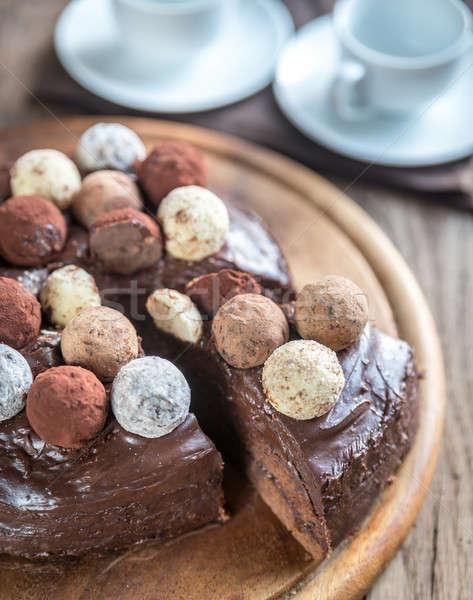 Sacher torte decorated with truffles Stock photo © Alex9500