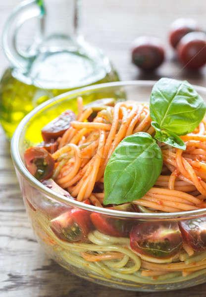 чаши красочный спагетти помидоры черри фон ресторан Сток-фото © Alex9500
