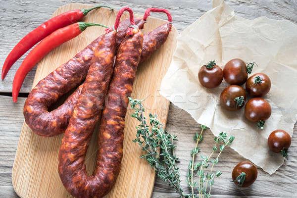 Photo stock: Chorizo · tomates · cerises · alimentaire · vert · viande · tomate