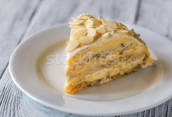 Porción egipcio torta blanco placa amarillo Foto stock © Alex9500