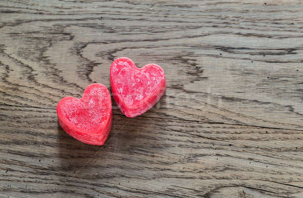Walentynki świece drewna streszczenie serca Świeca Zdjęcia stock © Alex9500