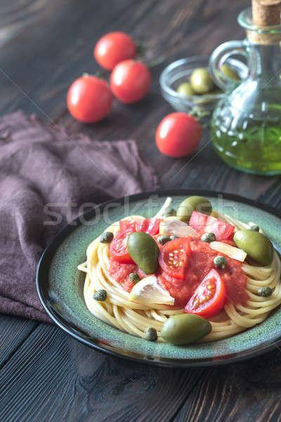 Stockfoto: Pasta · tomatensaus · olijven · plaat · voedsel · groene