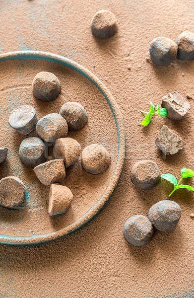 Csokoládé étel zöld csillag cukorka fekete Stock fotó © Alex9500
