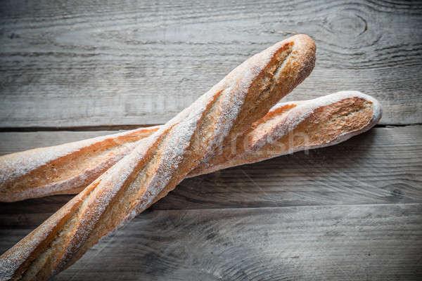 Dos baguettes trigo desayuno blanco Foto stock © Alex9500