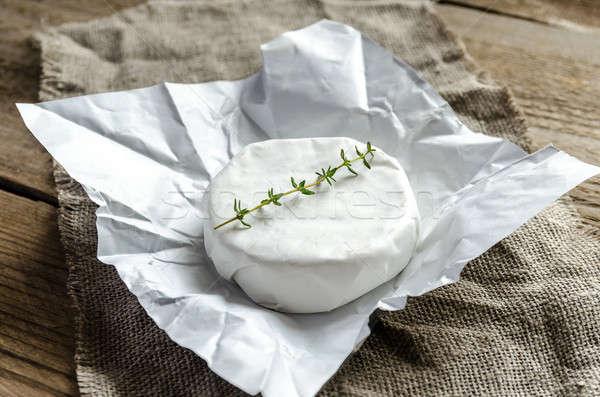 Camambert peynir kâğıt gıda şarap cam Stok fotoğraf © Alex9500
