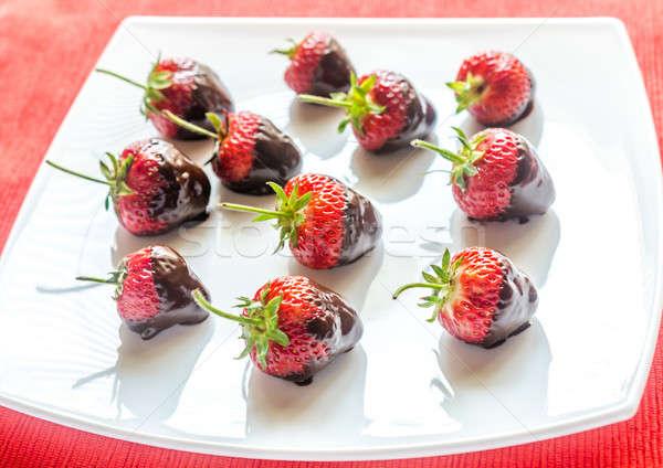 свежие клубники покрытый темный шоколад продовольствие лет Сток-фото © Alex9500