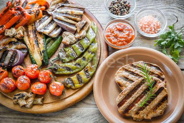 ストックフォト: 焼き · 野菜 · 木板 · 背景 · 緑