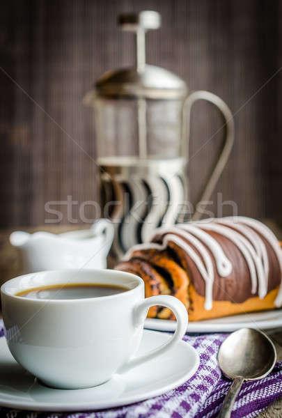 Taza café amapola bollo alimentos trigo Foto stock © Alex9500