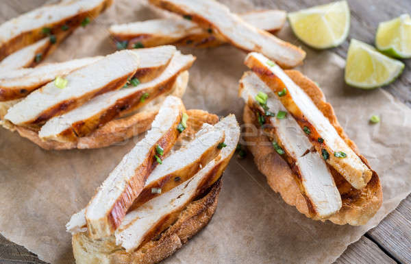 Sandwiches gegrilde kip brood peper biefstuk lunch Stockfoto © Alex9500