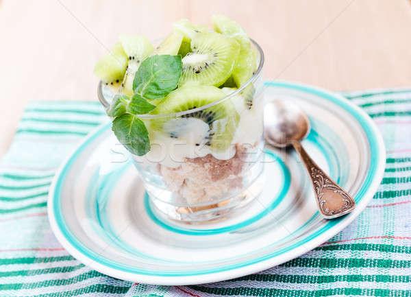 Kiwi Eton mess - dessert with meringue, whipped cream and fruits Stock photo © Alex9500