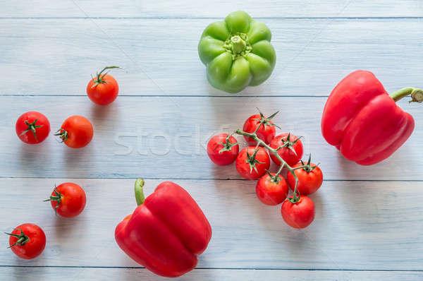 Fresche pomodori peperoni luce estate verde Foto d'archivio © Alex9500