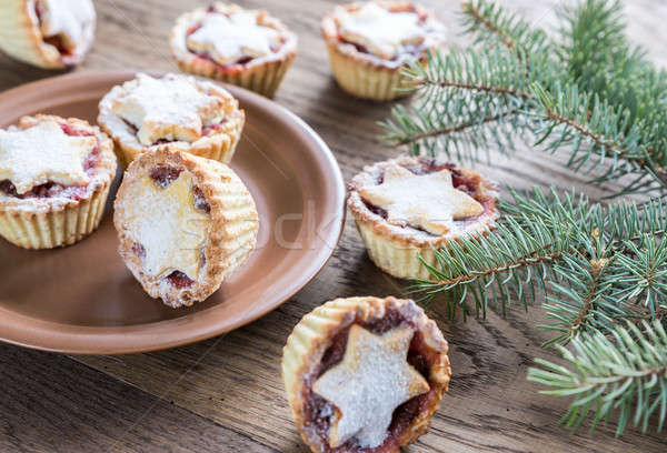 Mince pies with Christmas tree branch Stock photo © Alex9500