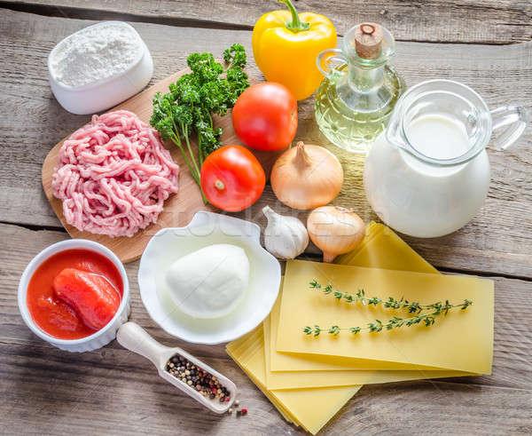 Ingredientes lasaña mesa queso carne Foto stock © Alex9500
