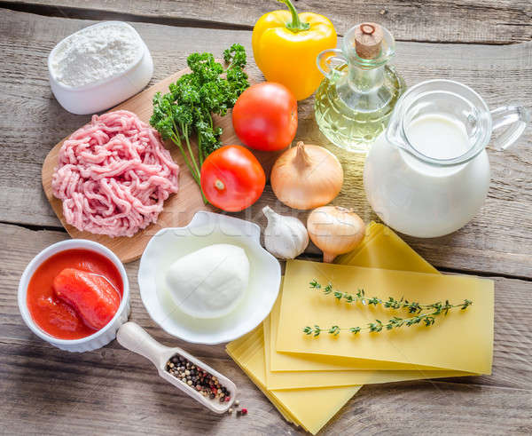 Ingredientes lasanha tabela queijo carne Foto stock © Alex9500