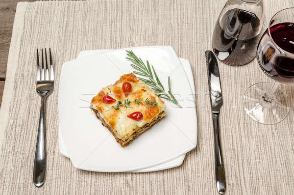 Lazanya ahşap masa gıda restoran peynir Stok fotoğraf © Alex9500