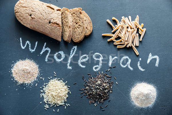 Wholegrain products on the dark wooden background Stock photo © Alex9500