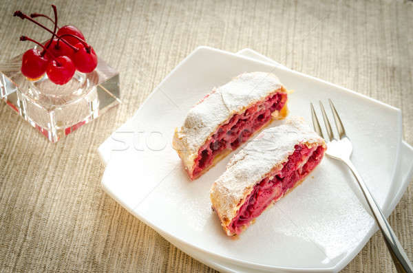 Cherry strudel on the square plate Stock photo © Alex9500