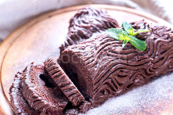 Yule log on the wooden board Stock photo © Alex9500