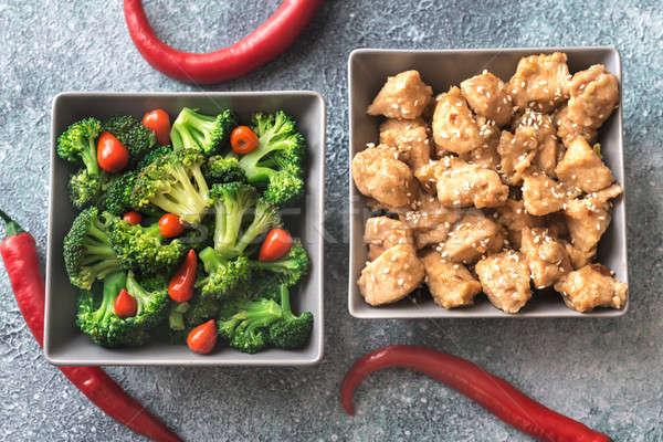 Kręgle brokuły kurczaka tle jedzenie pieprz Zdjęcia stock © Alex9500